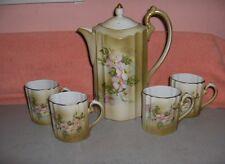 6 Pc Vintage China Dogwood Floral Coffee/ Chocolate/Teapot Lid & 4 Cups NICE