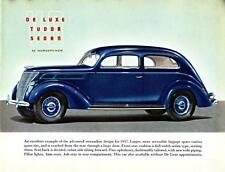 Print. 1937 Blue Ford V-8 De Luxe Tudor Sedan Auto Ad