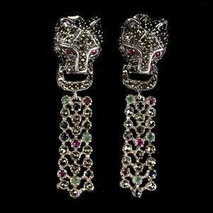 Heated Round Ruby Emerald Sapphire Marcasite 925 Sterling Silver Tiger Earrings