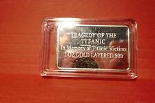 "in memory of Titanic 100  years  (silver plated ""error"" coin bar)"