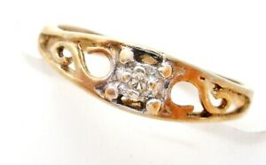 Vintage 10K Yellow Gold Diamond Ring Baby Band Size 1 Signed AAJ Victorian