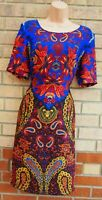 H&M BLUE BLACK MULTI COLOUR PAISLEY SHORT SLEEVE SHIFT BODYCON TUBE DRESS 12 M