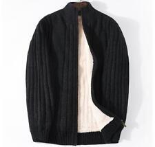 Mens Cashmere Fleece Lining Stand Collar Sweater Zip Jacket Cardigan Winter Tops