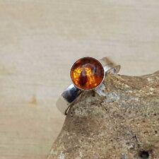Minimalist Adjustable Amber Ring. Handmade sterling silver
