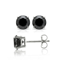 0.40 Carat Enhanced Black Diamond Stud Earrings in Sterling Silver