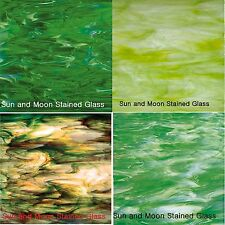 GREEN Spectrum Stained Glass Pack (4 Sheets of 8X10) - Stained Glass Sheets