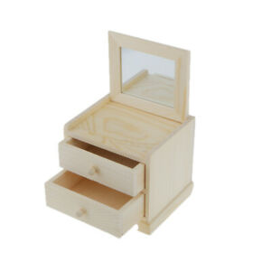 Plain Unpainted Wooden 2 Drawers Jewelry Storage Box Chest With Mirror Craft