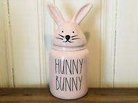 Rae Dunn Easter By Magenta Pink HUNNY BUNNY Canister with Bunny Ears Head Lid
