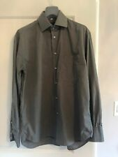 NWOT BARBERINI Gray 100% Cotton Button Down Shirt SZ 42/16.5 Made in Italy