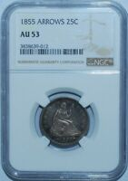 1855 NGC AU53 With Arrows Seated Liberty Quarter