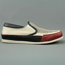 DSQUARED2 Size 12 Red White & Blue  Woven Leather Slip On Sneakers