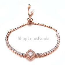 Exquisito 18 quilates chapado en oro rosa Cristales CZ Trébol Cadenas pulsera