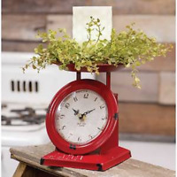 Old Town new small  Scale Clock in distressed red metal