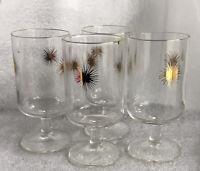 Vintage Mid Century Modern Gold Atomic Starburst Stemmed Drinking Glass 4pc Set
