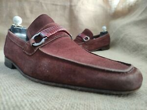 Salvatore Ferragamo Men's Red Suede Leather Loafers Size US 8.5 EE