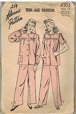 4305 Vintage Advance Sewing Pattern Teen Age Fashion Pajamas Top Pants 14 OOP