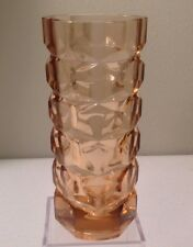 Valentine French Pink Glass Vase Verre de France Vtg Art Deco Heavy Geometric