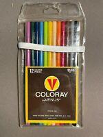 NEW Vintage Set Of VENUS Coloray Colored Pencils in plastic pouch 12 pcs #1565