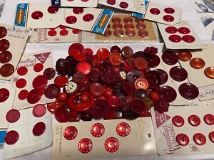 Vintage Button Lot All Red OVER 150 Total Cards & Loose