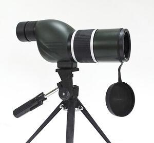 12-36x50 spotting scope with straight eyepiece. 12-36x power, twist-up eyecup