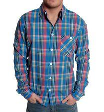 RVLT REVOLUTION Kirk Uomo Camicia Shirt tg S Blu A Quadri Tempo Libero Manica Lunga Blue