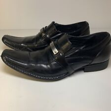 ROCK & REPUBLIC Black Leather Loafers Slip On Dress Shoes Mens Size 9 M Silver
