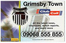 ClubCall Club Call Football Fixture List Card 2001-2002 Season - Grimsby Town