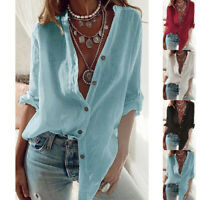 Women Casual Button Down Shirt Blouse Long Sleeve V Neck Cotton+Linen Tops Plus