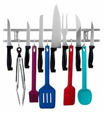 18 inch Magnetic Knife & Utensil holder with hooks / space saving organizer