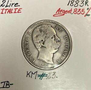 ITALIE - 2 LIRE 1883 R - Pièce de Monnaie en Argent // Qualité : TB-
