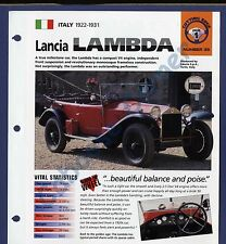Lancia Lambda  IMP Brochure Specs 1922-1931 Group 1, No 35