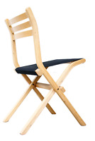 Palo Klapp Stuhl Birke & Stoff schwarz Vintage Ikea Design Folding Chair 80er #1
