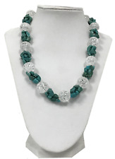 "Turquoise gemstone and Mountain Crystal beads 925 SS chunky Necklace 17"" new"