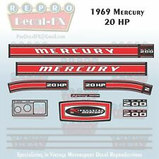 1969 Mercury 20 HP Kiekhaefer Outboard Reproduction 13 Pc Marine Vinyl Decal 200