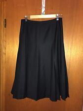TALBOTS Womens Petite Pure Wool Black Pleated Skirt Size 8 8p Warm Winter Skirt