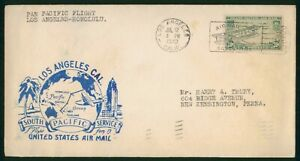 MayfairStamps US First Flight Cover 1940 California Los Angeles to Honolulu Hawa