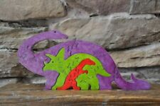 Long Neck & Triceratops Dinosaur Purple Wood Puzzle Amish Made Scroll Saw Toy