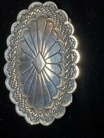 "Vintage sterling silver Navajo concho belt buckle 2.75"" Signed Wt 24.4g"
