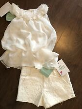 Nwt Designer Cream Girls Top And Lace Shorts Set *Summer* Casual 7-8 years