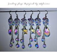 Crystal Glass Earwires Ear Dangle Pendant Beaded Long Hooks Earrings AB Clear