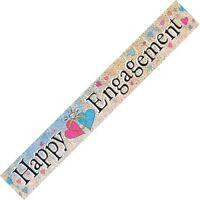 HAPPY ENGAGEMENT PRISMATIC FOIL BANNER 3.6M/12' ENGAGEMENT BANNER