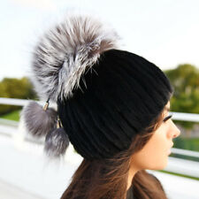 Black Mink Fur Hat With Silver Fox Top