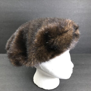 Donna Salyers' Fabulous Furs Brown Faux Mink Beret Hat One Size Acrylic