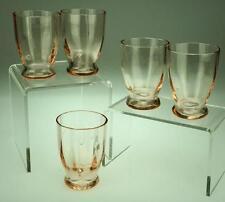 Five 5 Salmon Pink Depression Glass Shot Shooter or Liqueur Glasses VA139