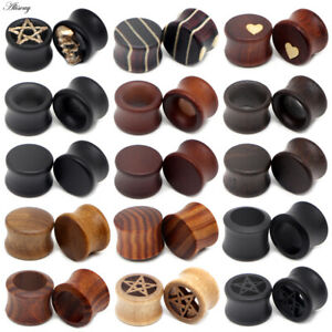 8-50mm Hollow Wood Double Flare Flesh Tunnel Ear Plug Expander Stretcher Earring