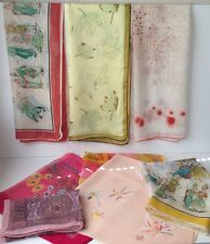 Vintage Early 1900s Japanese Silk Scarves Lot Of 9
