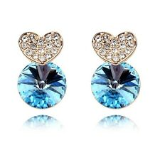18K Gold Plated Made With Swarovski Crystal Round Cut Heart Aqua Stud Earring