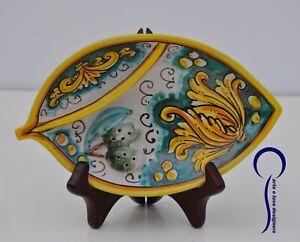 Porta olive in ceramica di Caltagirone decorato a mano firmato da cucina tavola
