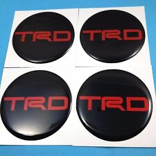 """4X """"TRD 70 mm"""" Black Red Reflect Resin Wheel Center Caps Decal Emblem Stickers"""