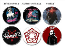 6 X Synthwave band buttons (25mm, petrubator, carpenter brut, gost, futuresynth)